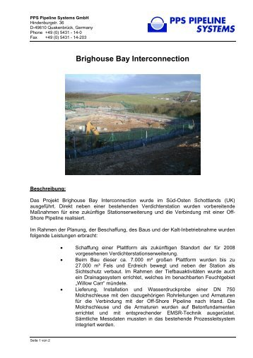 Brighouse Bay Interconnection - PPS Pipeline Systems GmbH
