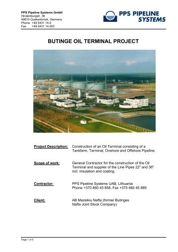 Butinge Oil Terminal Project - Tankfarm - PPS Pipeline Systems GmbH