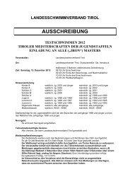 Ausschreibung Testschwimmen 2012 - Landesschwimmverband Tirol