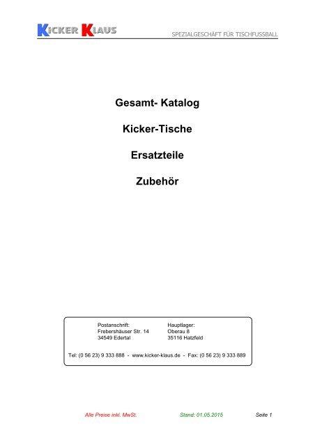 Gesamt Katalog Kicker Tische Ersatzteile Zubeha R Kicker
