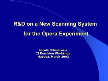R&D on a New Scanning System for the Opera Experiment