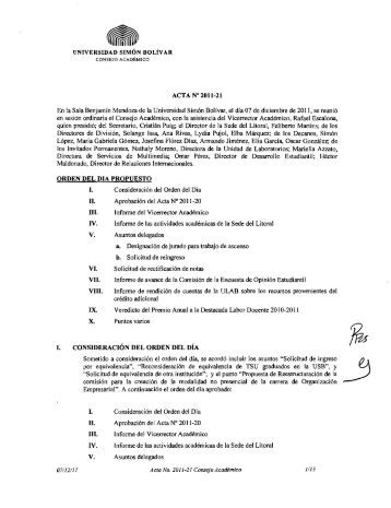 Descargar el Acta A 2011-21 Ordinaria del - CENDA - Universidad ...
