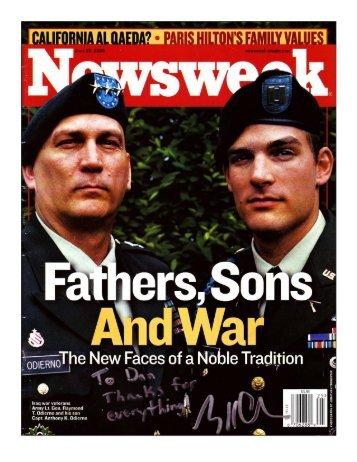 Newsweek Magazine Fathers, Sons and War - Advanced Arm ...