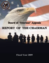 REPORT OF THE CHAIRMAN - Board of Veterans' Appeals