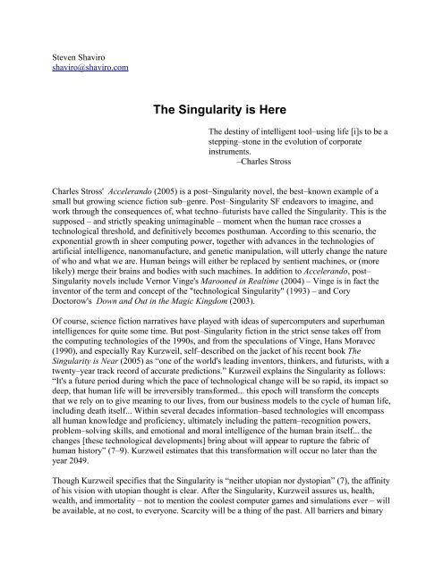 The Singularity is Here - Steven Shaviro