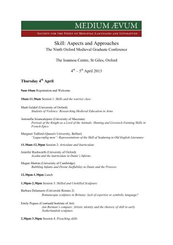 the draft programme - Medium Aevum - University of Oxford