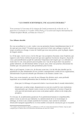 Le Comité scientifique une alliance durable - Joseph Wresinski