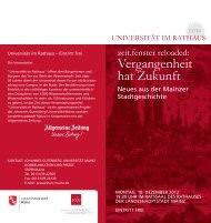 Vergangenheit hat Zukunft - Universität im Rathaus - Johannes ...