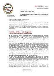 Infobrief ADA Dezember 2009 - Ke Nako - Afrika Jetzt!