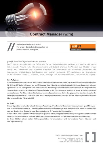 Stelleninserat 2013_Contract Manager.indd - unit-IT