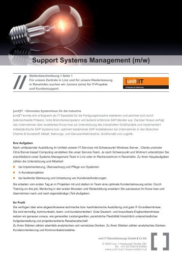 Stelleninserat 2012_Support Systems Management.indd - unit-IT