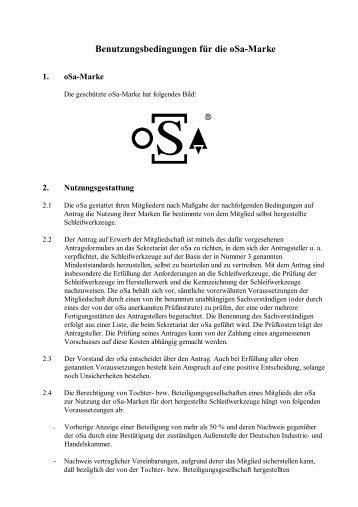 Benutzungsbedingungen für die oSa-Marke