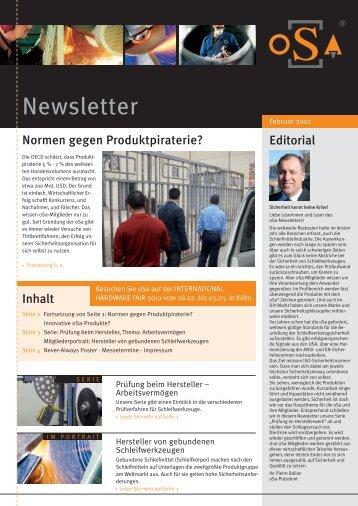 7. oSa Newsletter - Organisation für die Sicherheit von ...
