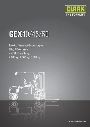 BERGER Clark Elektro Vierrad Gabelstapler GEX 40-45-50 Datenblatt