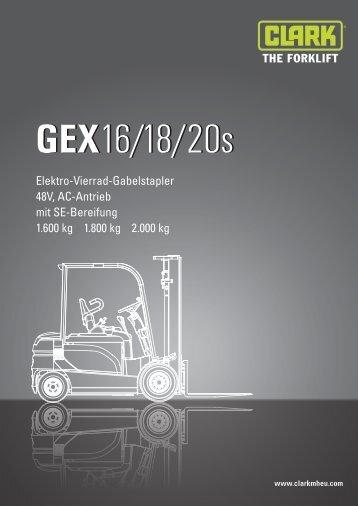 BERGER Clark Elektro Vierrad Gabelstapler GEX 16-18-20s Datenblatt