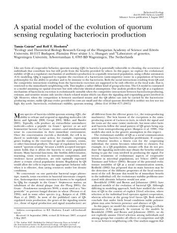A spatial model of the evolution of quorum sensing regulating ...
