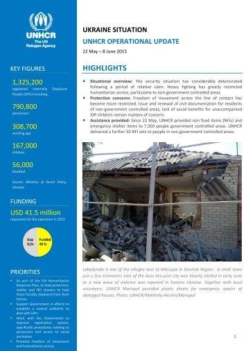 UNHCR UKRAINE Operational update 08JUN15