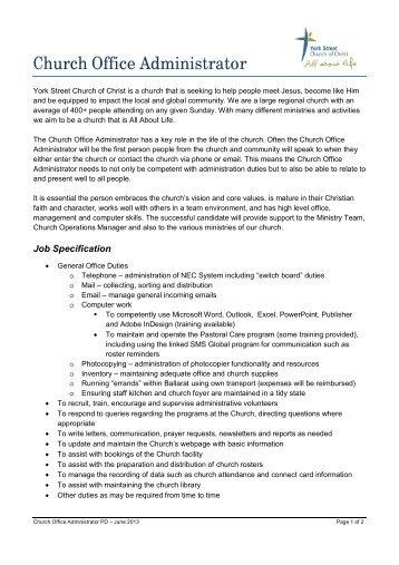 church administrator job description