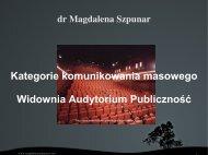 Kategorie komunikowania masowego - Magdalena Szpunar