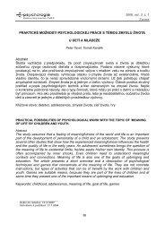 Význam a praktické možnosti psychologickej práce ... - E-psychologie