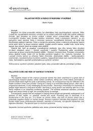 PALIATIVNÍ PÉČE A RIZIKO SYNDROMU VYHOŘENÍ - E-psychologie