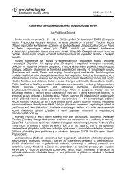 Konference Evropské společnosti pro psychologii ... - E-psychologie