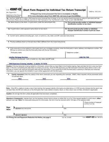 4506t Ez Short Form Request For Individual Tax Return Lawrence