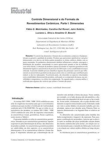 Controle Dimensional e do Formato de Revestimentos Cerâmicos ...