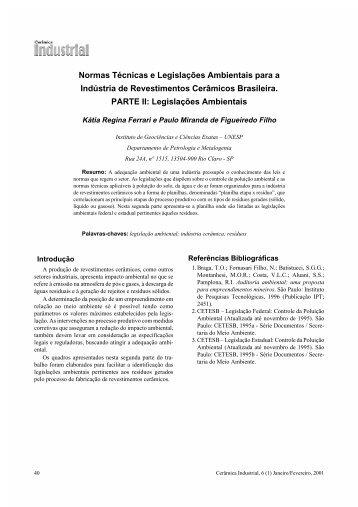 Normas Técnicas e Legislações Ambientais para a Indústria de ...