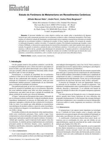 Estudo do Fenômeno de Metamerismo em Revestimentos Cerâmicos