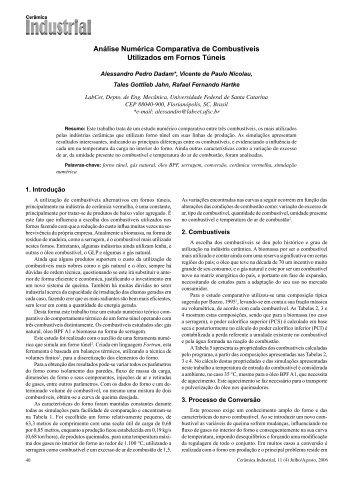 Análise Numérica Comparativa de Combustíveis Utilizados ... - UFSC