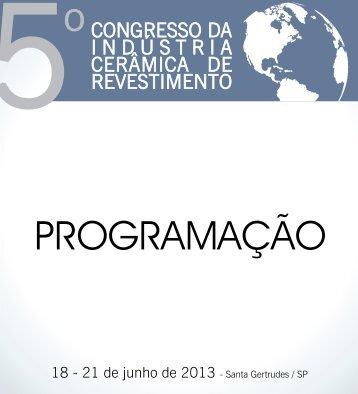 PROGRAMAÇÃO - DIA 18/06 (Terça-Feira) - Revista Cerâmica ...