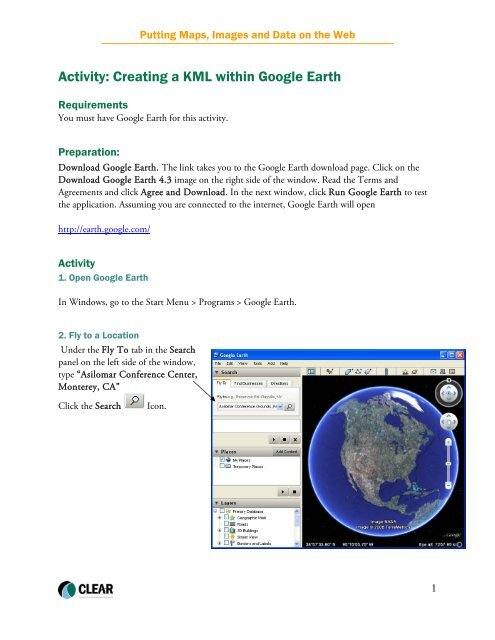 Activity: Creating a KML within Google Earth