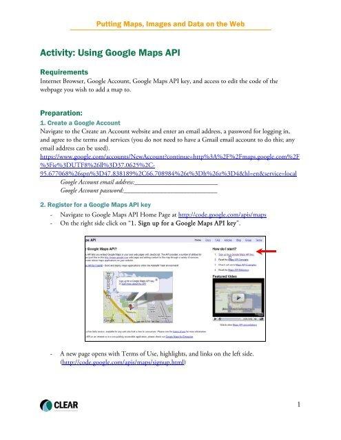 Activity: Using Google Maps API