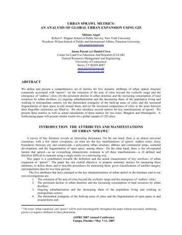 urban sprawl metrics: an analysis of global urban - Center for Land ...