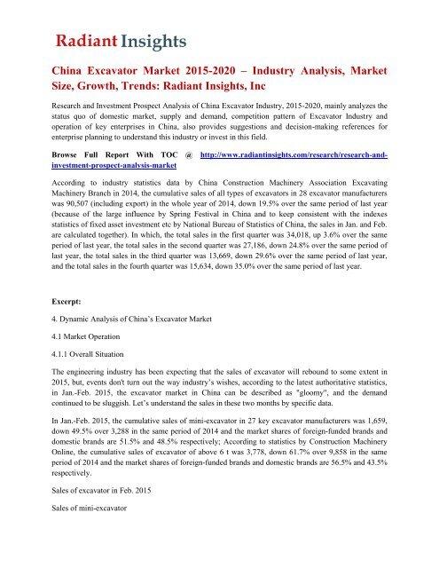 Investment Trends 2020.China Excavator Market 2015 2020 Industry Analysis Market