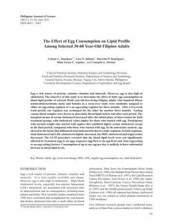 Effect of Egg Consumption on Lipid Profile - Philippine Journal of ...