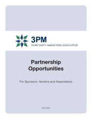 Partnership Opportunities - 3PM - Third Party Marketers Association