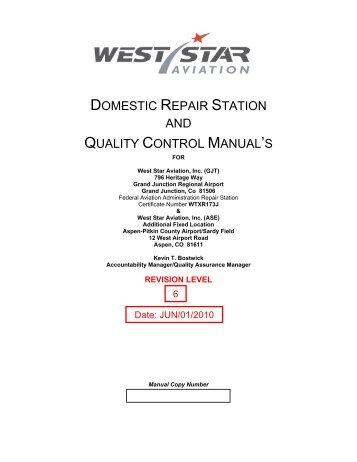 part 145 repair station consumer guide nata rh yumpu com Quality Control Manual Pillows Clip Art Quality Control Manual