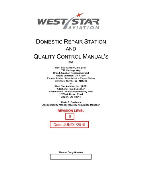 domestic repair station and quality control ... - West Star ...