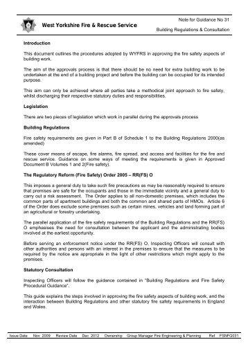 Building Regulations & Consultation - West Yorkshire Fire Service