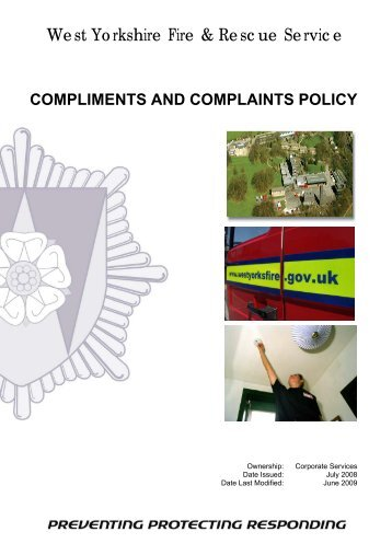 Compliments and Complaints Policy - West Yorkshire Fire Service