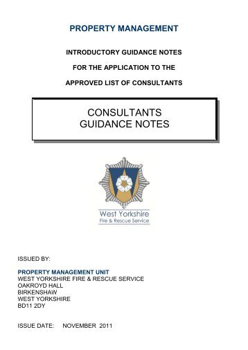 Consultant's Guidance Notes - West Yorkshire Fire Service