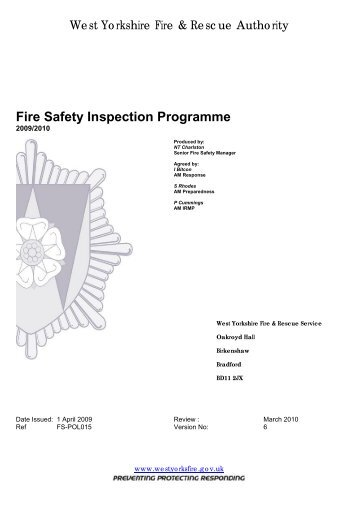 Risk Based Inspection Programme - West Yorkshire Fire Service