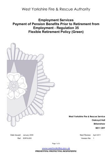 Flexible Retirement (Green) - West Yorkshire Fire Service
