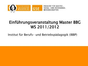 Informationen für Erstsemester im Master Betriebliche ... - IBBP