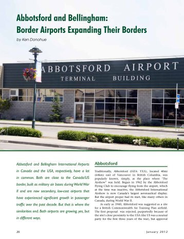 Abbotsford and Bellingham: Border Airports ... - Ken Donohue