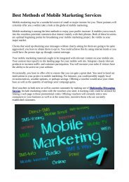 Best Methods of Mobile Marketing Services