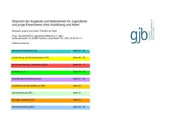 Übersicht der Angebote und Maßnahmen für Jugendliche und ... - gjb