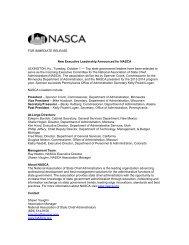 New Executive Leadership Announced for NASCA - National ...